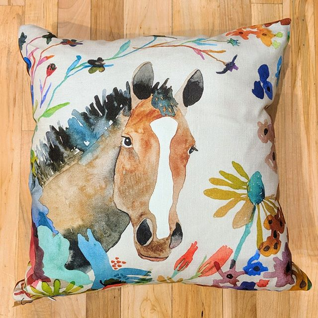 Hay, how you doin'? Adorable new pillow by Betsy Olmsted!⠀ #pillow #watercolor #horse⠀