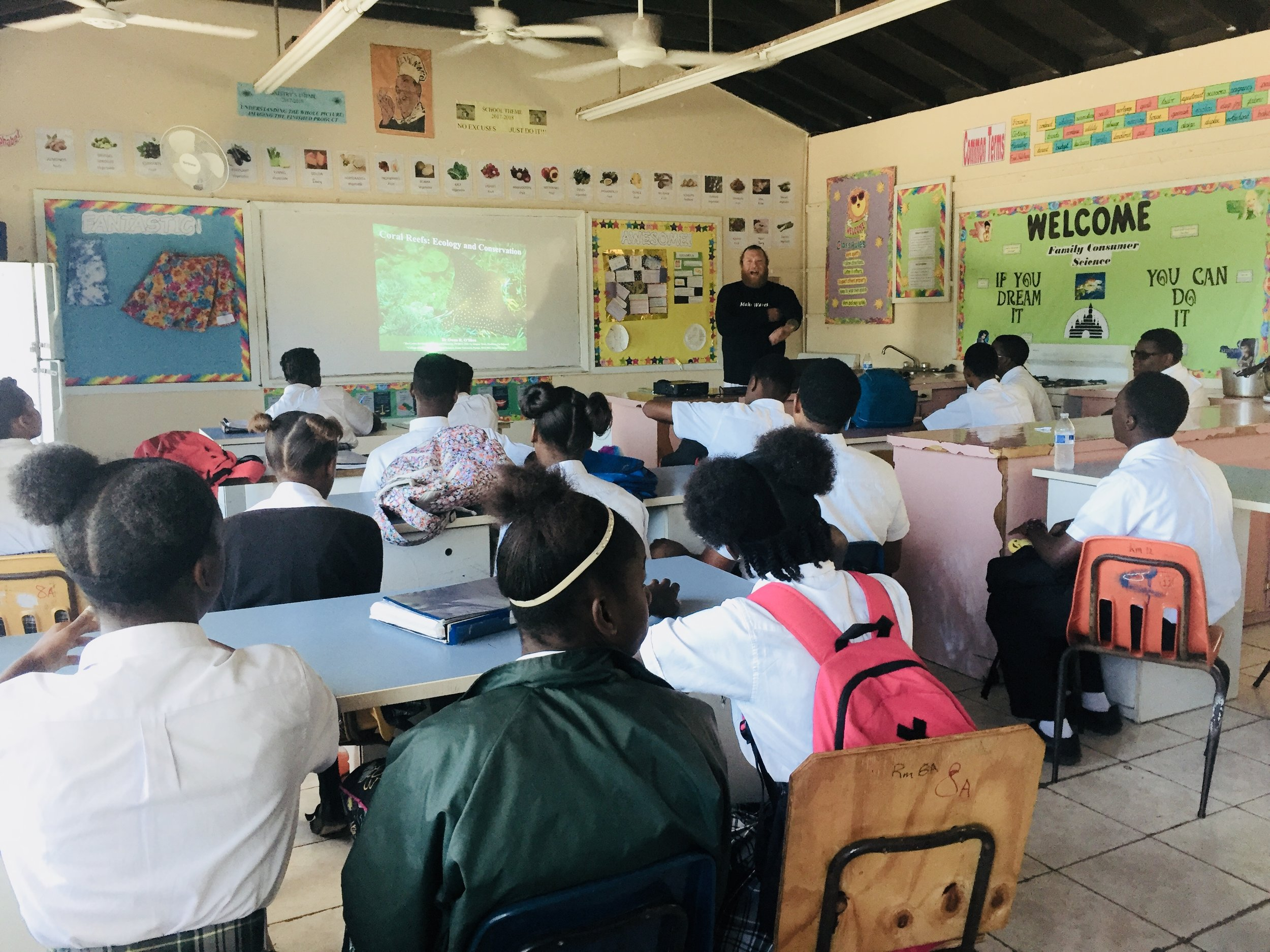 Dr. O'Shea delivered two lectures at Central Eleuthera High School, talking about coral reefs and their evolution and ecology
