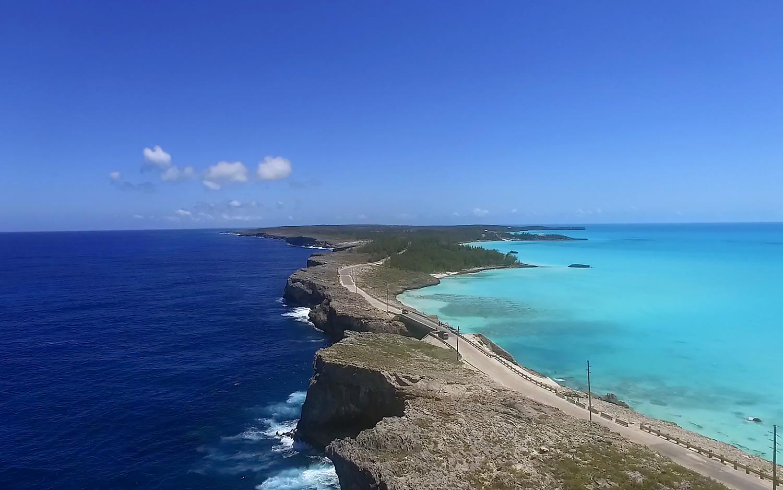 Eleuthera island, straddling the western Atlantic and the Great Bahama Banks