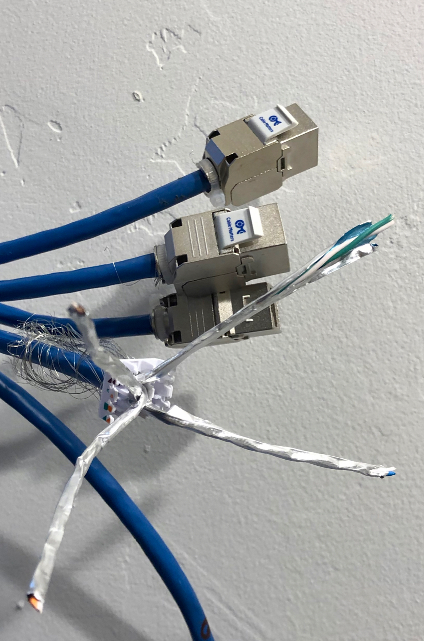 Cat6a shielded ethernet with shielded keystone jacks