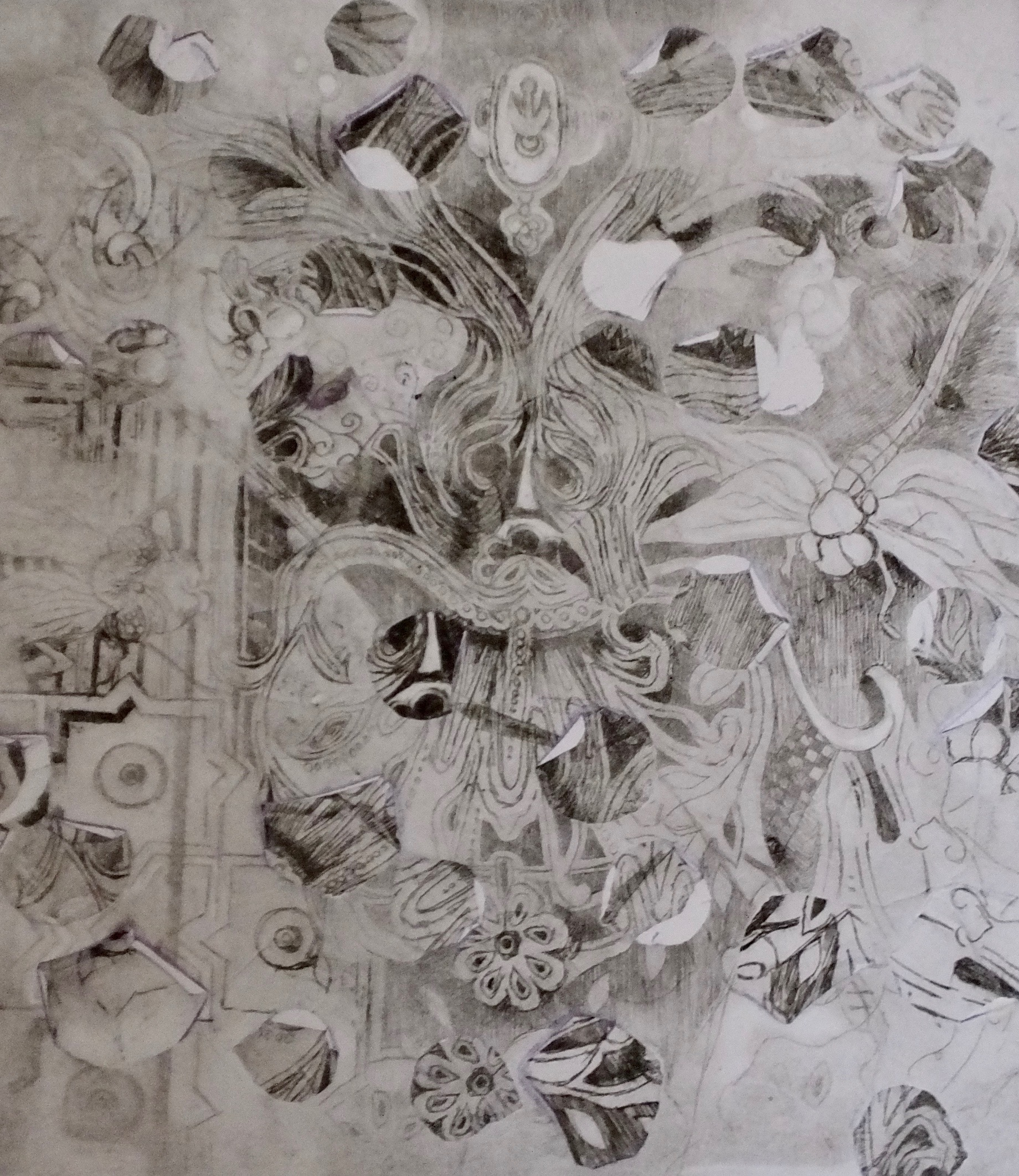 Verdant Man P3. Rose Petal transfer etching.