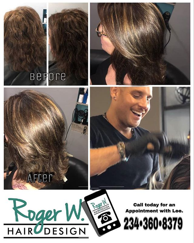 A before and after done by Lee! Call and book your appointments today at (234)360-8379 #rogerwhairdesign #beauty #brunette #stylist #glam #color #haircolor