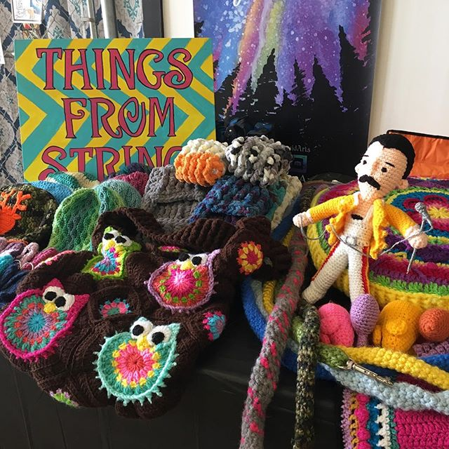 It's Saturday which means it's #artistmarket here at Barking Dog Art! Check out this awesome crochet #freddiemercury by Things From String (check her out on facebook!). We're also loving @summerhallpottery's handmade mugs, and wooden bowls and pens handcrafted by Duane Allen! Come by second floor south at @lowemillarts from 10am-4pm today and check out all of the awesome work for sale. And from 1-4pm, there is a Mending Meetup workshop in the theater presented by @curatedclosethsv, so bring by your clothes in need of repair! . . . #artistsmarket #freddiemercuryqueen #freddiemercuryfan #freddiemercuryart #crochetart #crochetartist #textileart #handmademug #ceramicart #woodturning #barkingdogarts #lowemill #lowemillarts #lowemillartsandentertainment #huntsvilleart #huntsvilleartist #alabamaartist