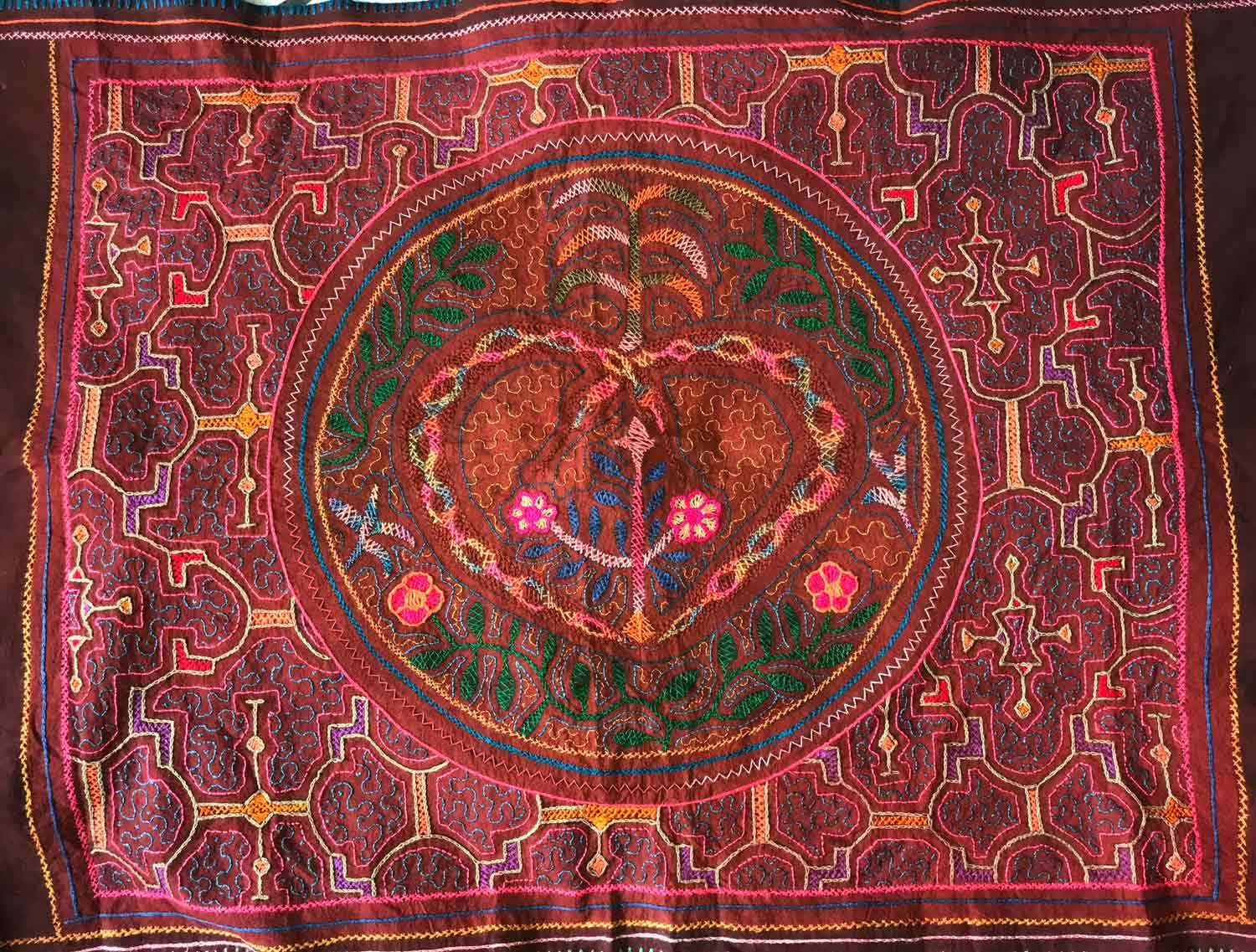 Amazonian Textile with Healing Design created by a Shipibo 12 year old girl.