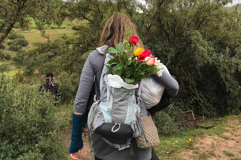 Peaceful walk in sacred Inca site.
