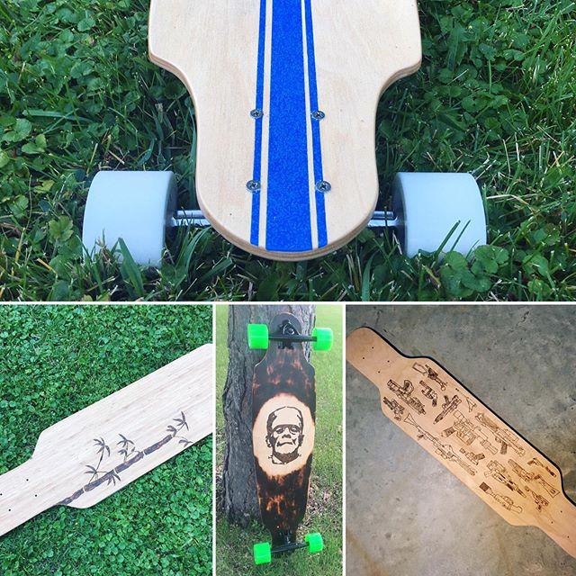 It's #goskateboardingday! So here are some long(skate)boards. Now get off your phone and go skate! __________  #yqrmakers #yqr #diy #madeincanada #madeinregina #madeinsaskatchewan #saskmade #yxe #saskatchewan #woodworking #wood #garagewoodshop #wooddesign #rodandplank #basementwoodshop #makersgonnamake #longboard #longboarding #frankenstein #monsters  #custom #customlongboard #longboardbuilding #goskate #starwars #frankenstein