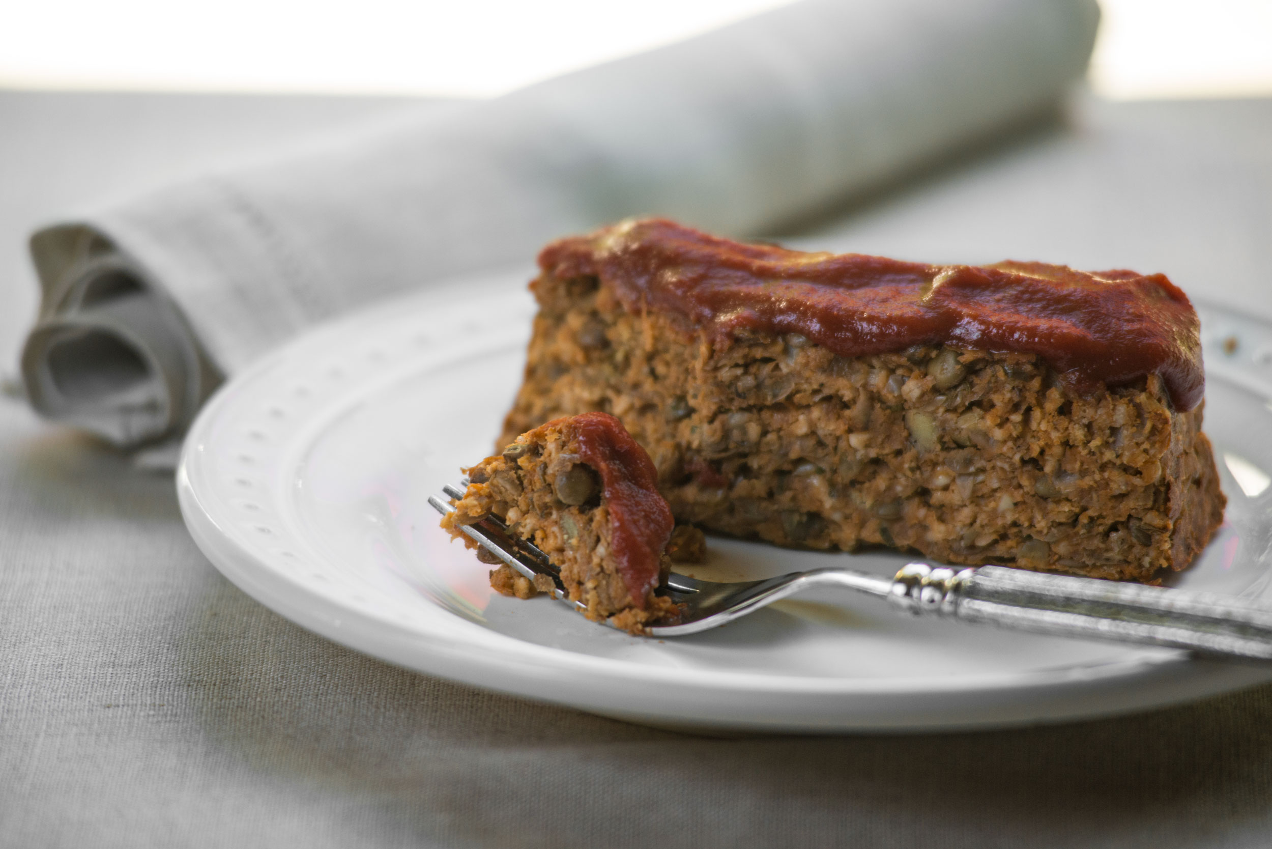 Vegetarian Lentil Loaf with Tomato-Maple BBQ Sauce