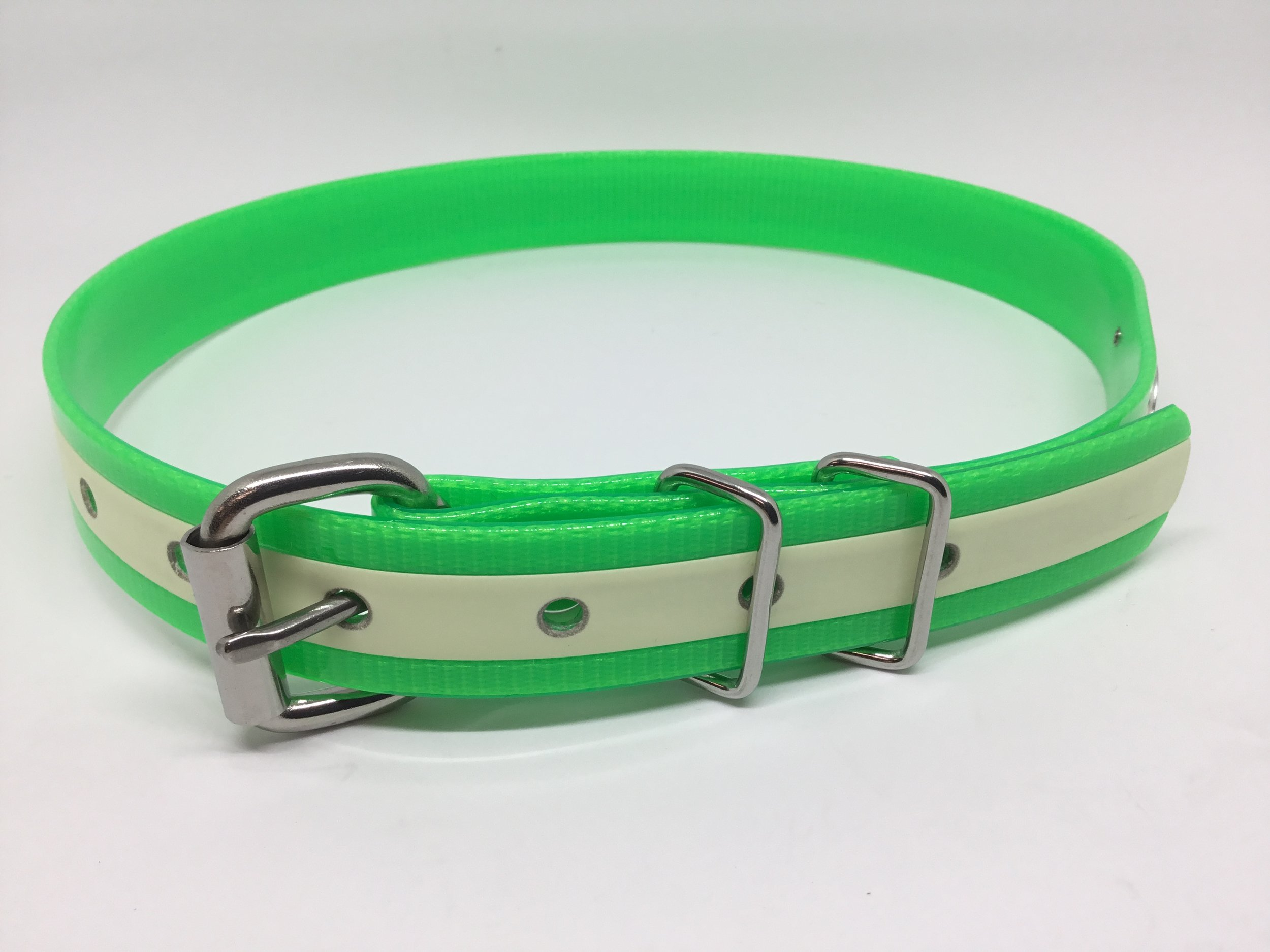 """Bright green in 1"""" width with stainless steel hardware."""