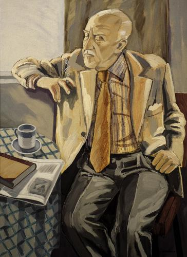 Portrait of Laxness painted by Einar Hákonarson in 1984. Image from  Wikipedia .