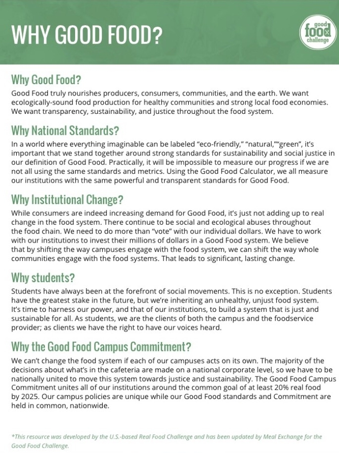 Why Good Food?  -