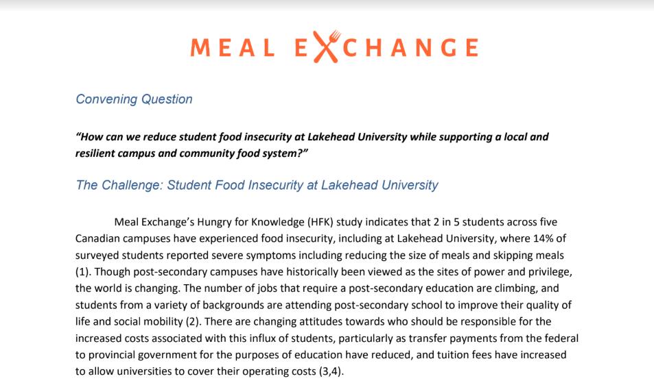 Lakehead University Challenge Brief