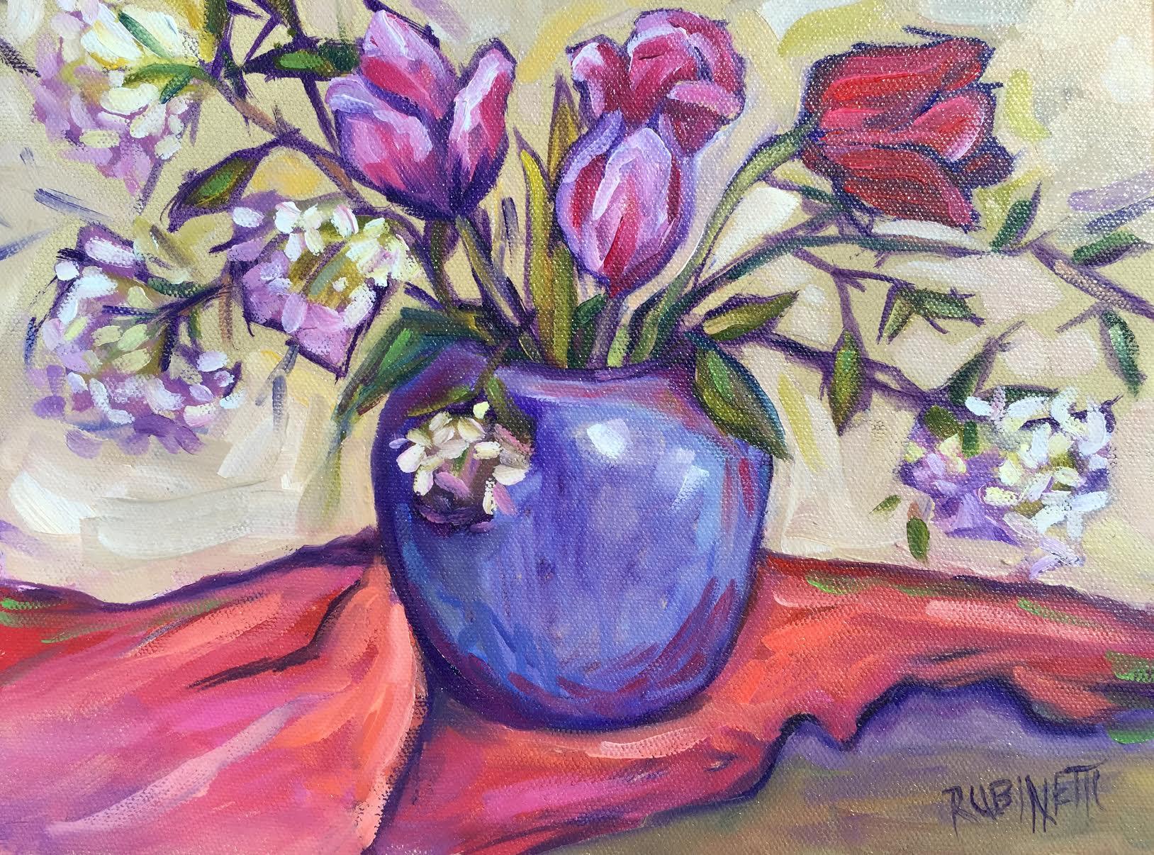 Tulips and Viburnum