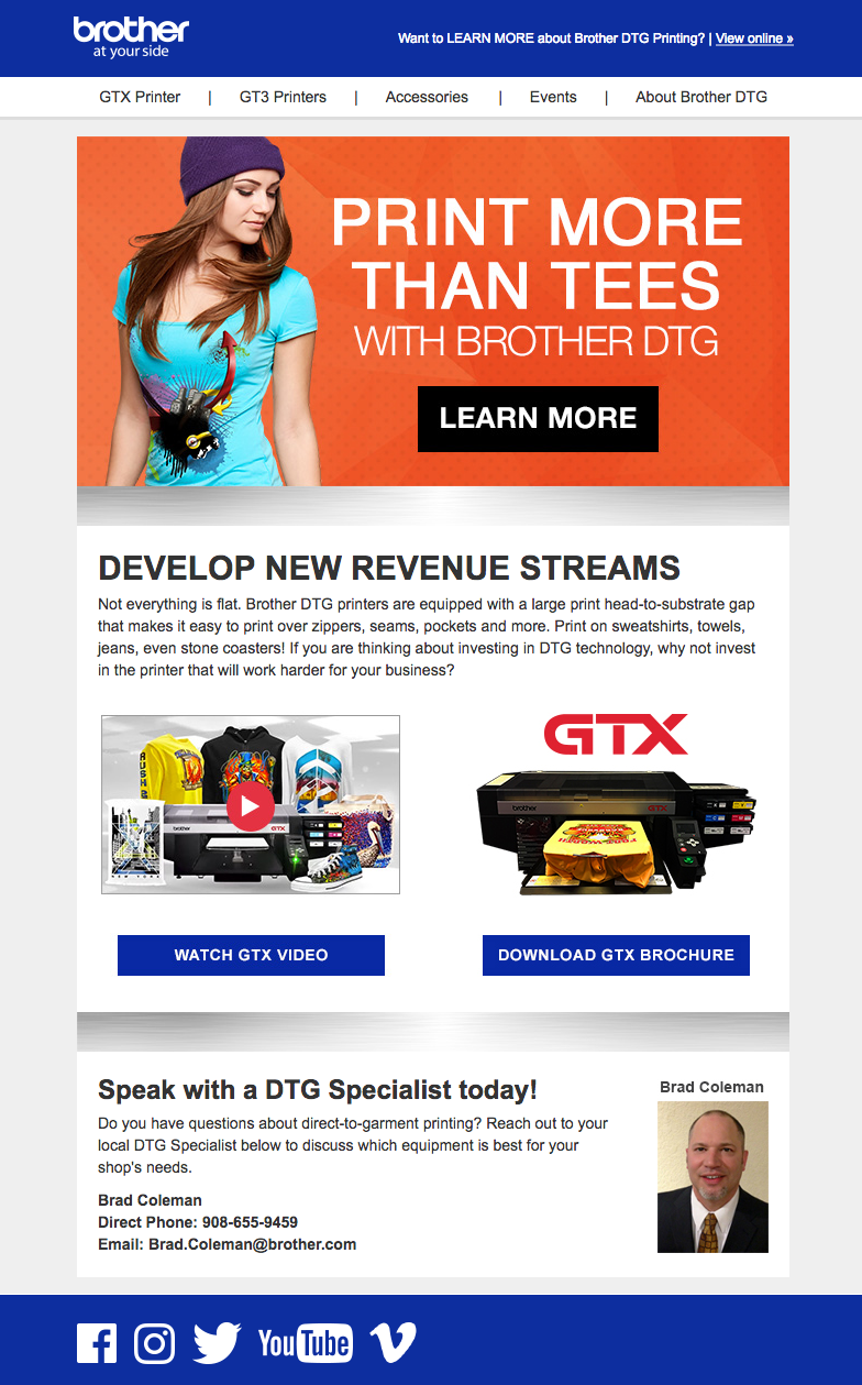 Brother GT Printer email Campaign