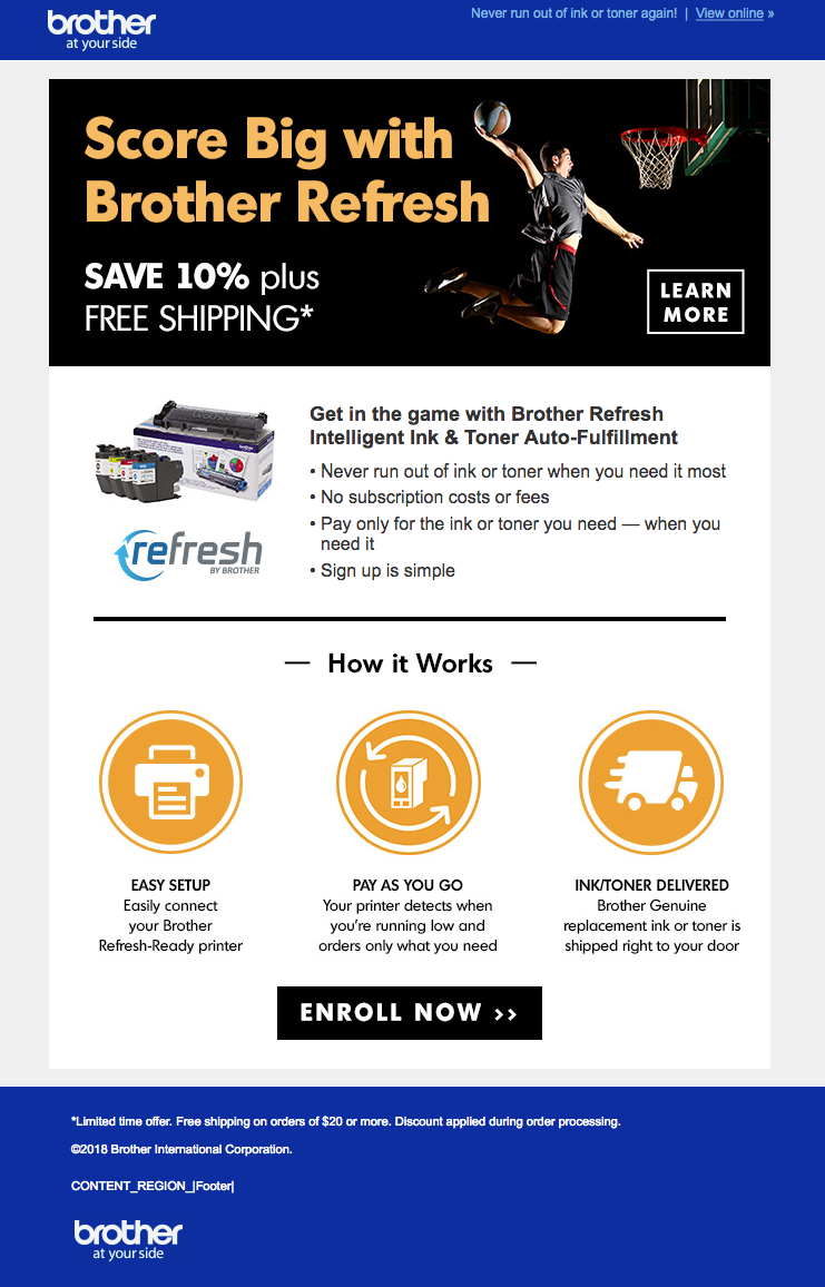 March Madness email for Brother Refresh