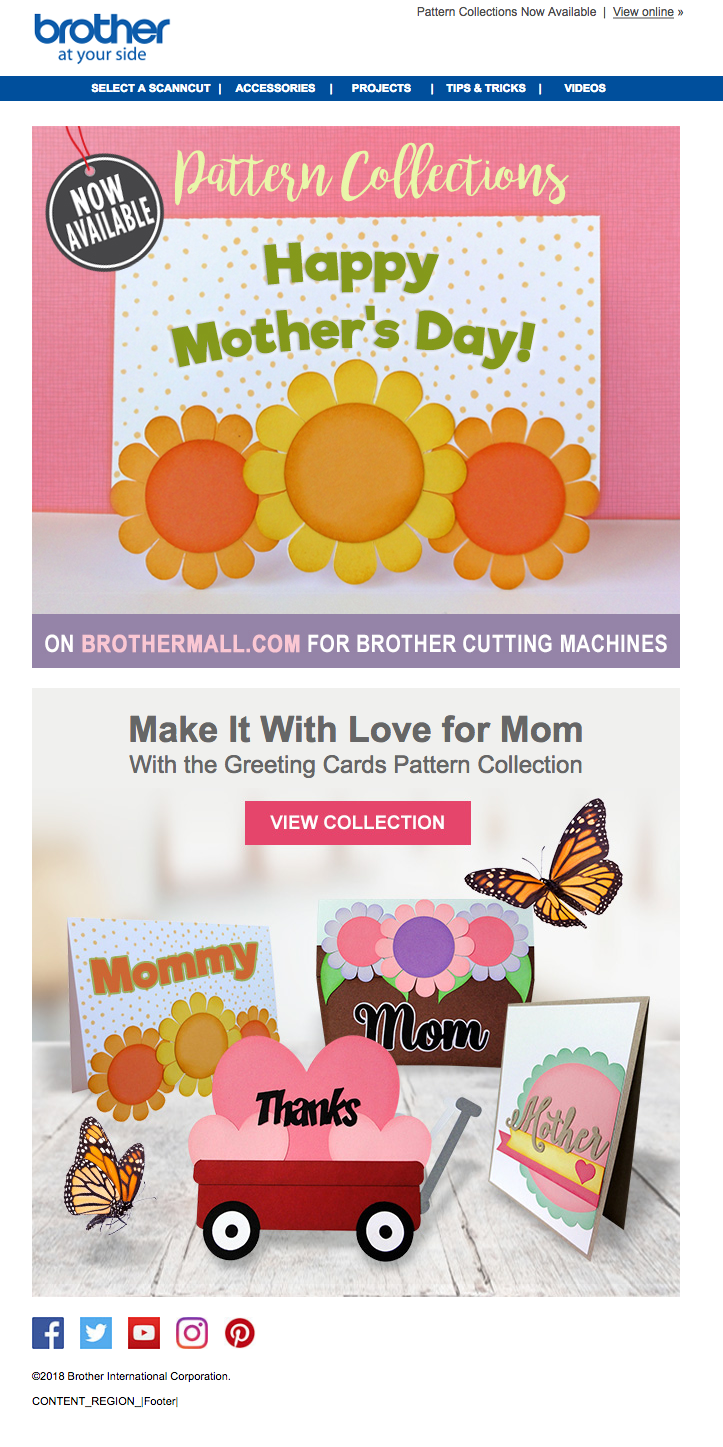 Brother Crafting email Campaign