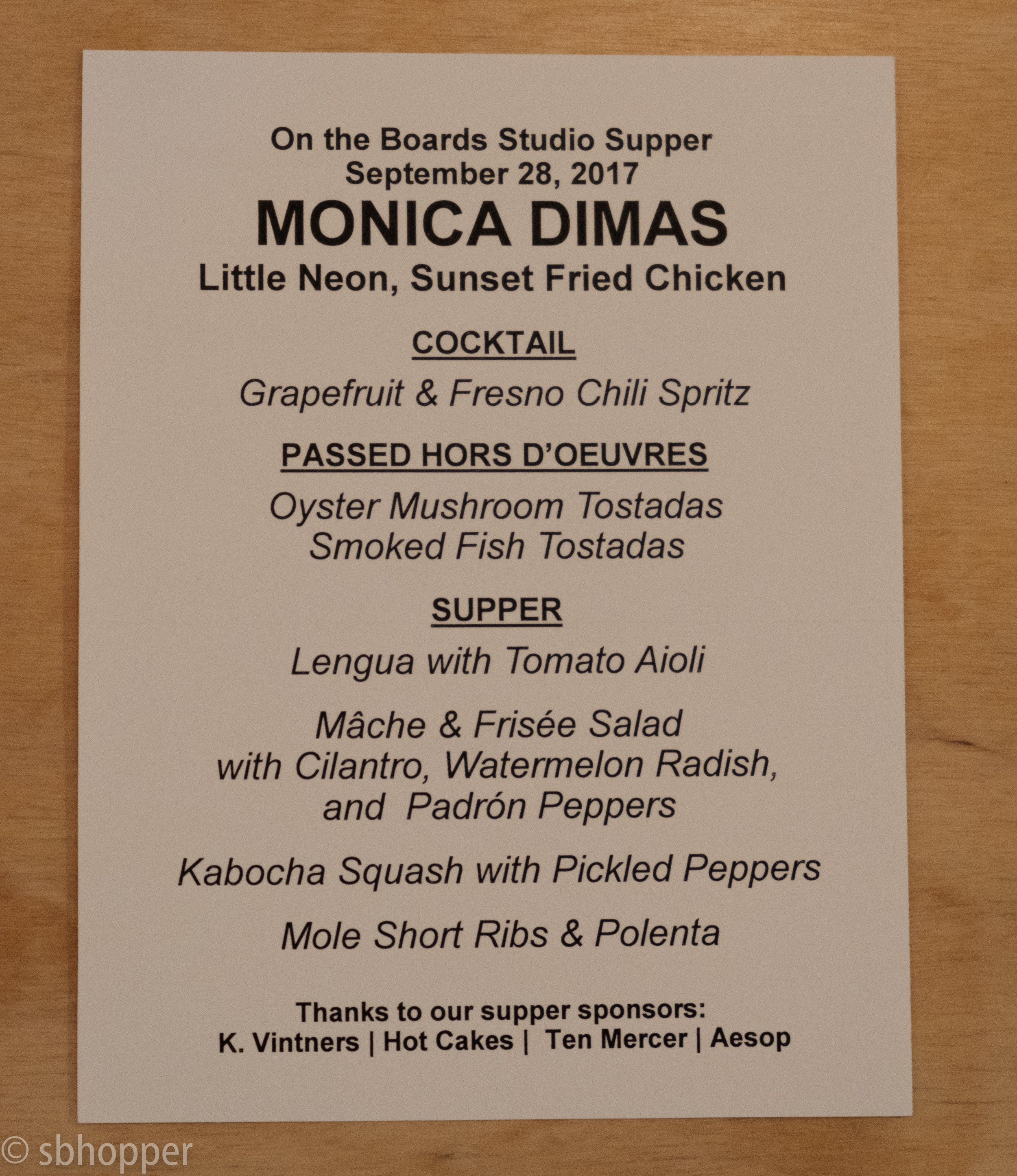 Menu prepared by Seattle Chef Monica Dimas for On the Boards' 28 September 2017 Studio Supper featuring Burning Doors by Belarus Free Theatre.