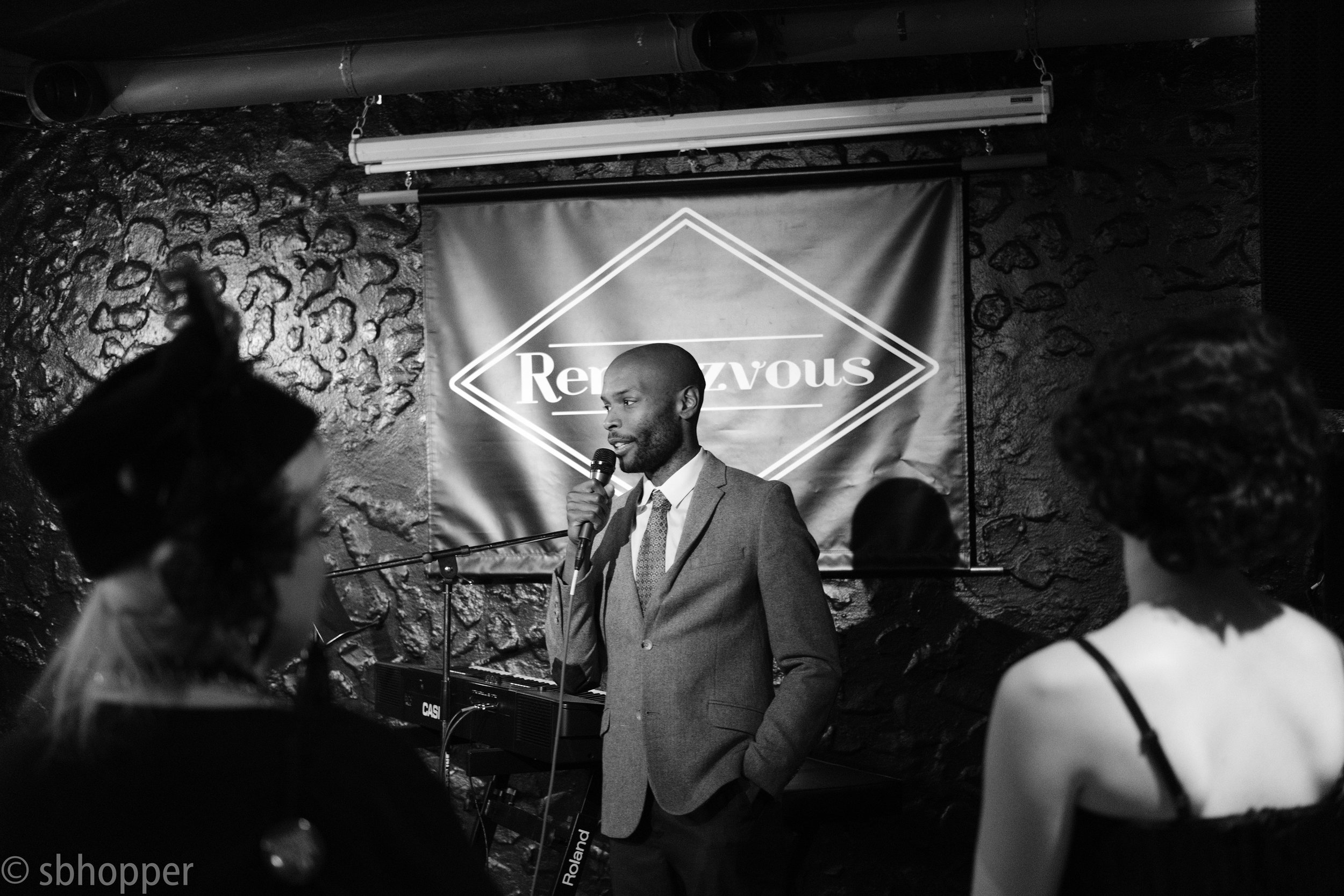 Legal Voice's Phil Bouie at Flappers and Dappers, the Rendezvous, Seattle, 25 January 2018.