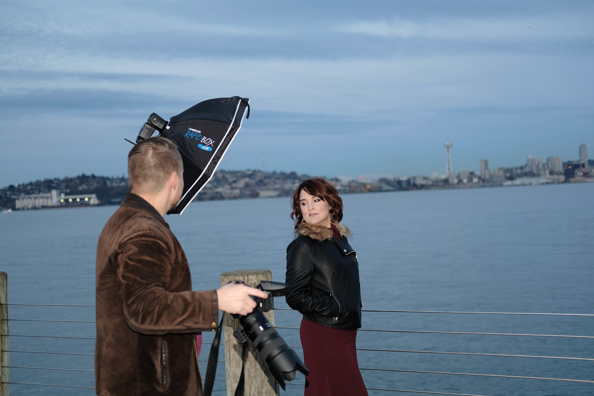 Behind the Scenes at a photoshoot with Kristin Chambers, Alki, West Seattle. The temperature was dropping fast. KChambs was a trooper, and she killed it. (Tony did some good work, too.)