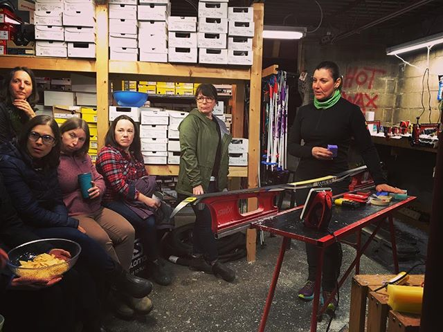 We're hands on in @radicaledgebikeski basement with @jane_mckeown learning the ins and outs of ski maintenance and waxing. Girl, all of our skis need some L❤️VE. Wish you were here xoxo.