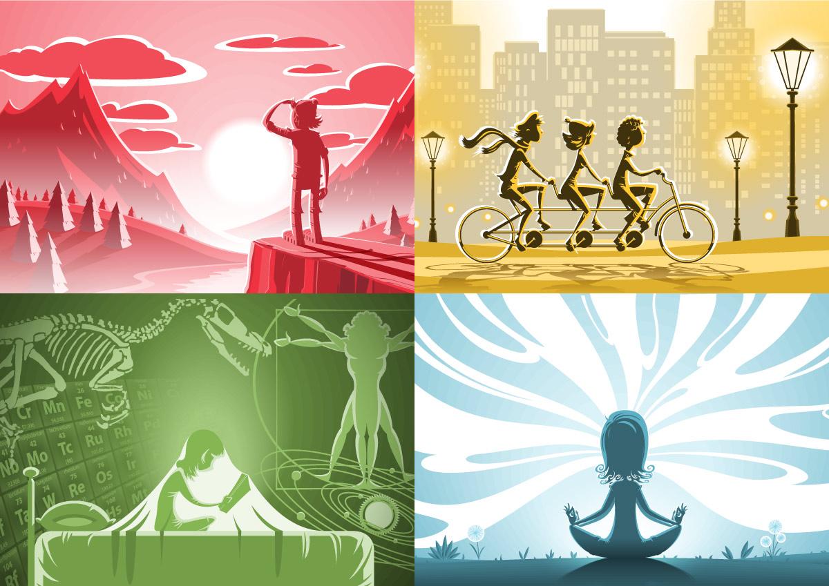 EXPLORE; COMMUTE; MEDITATIVE; LEARN