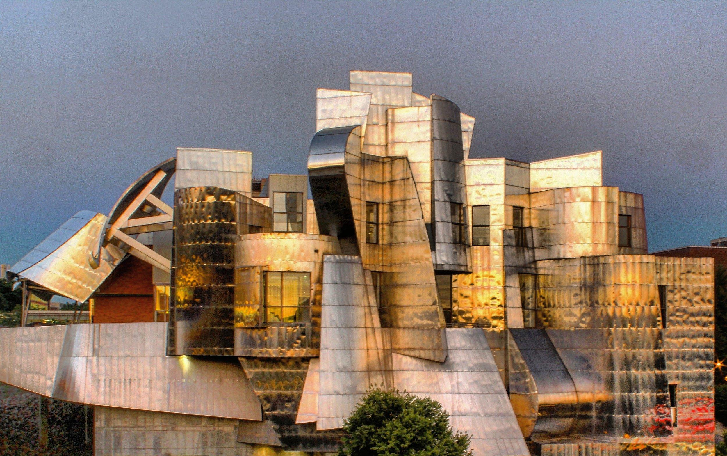 The Weisman Art Museum reflecting the sunset
