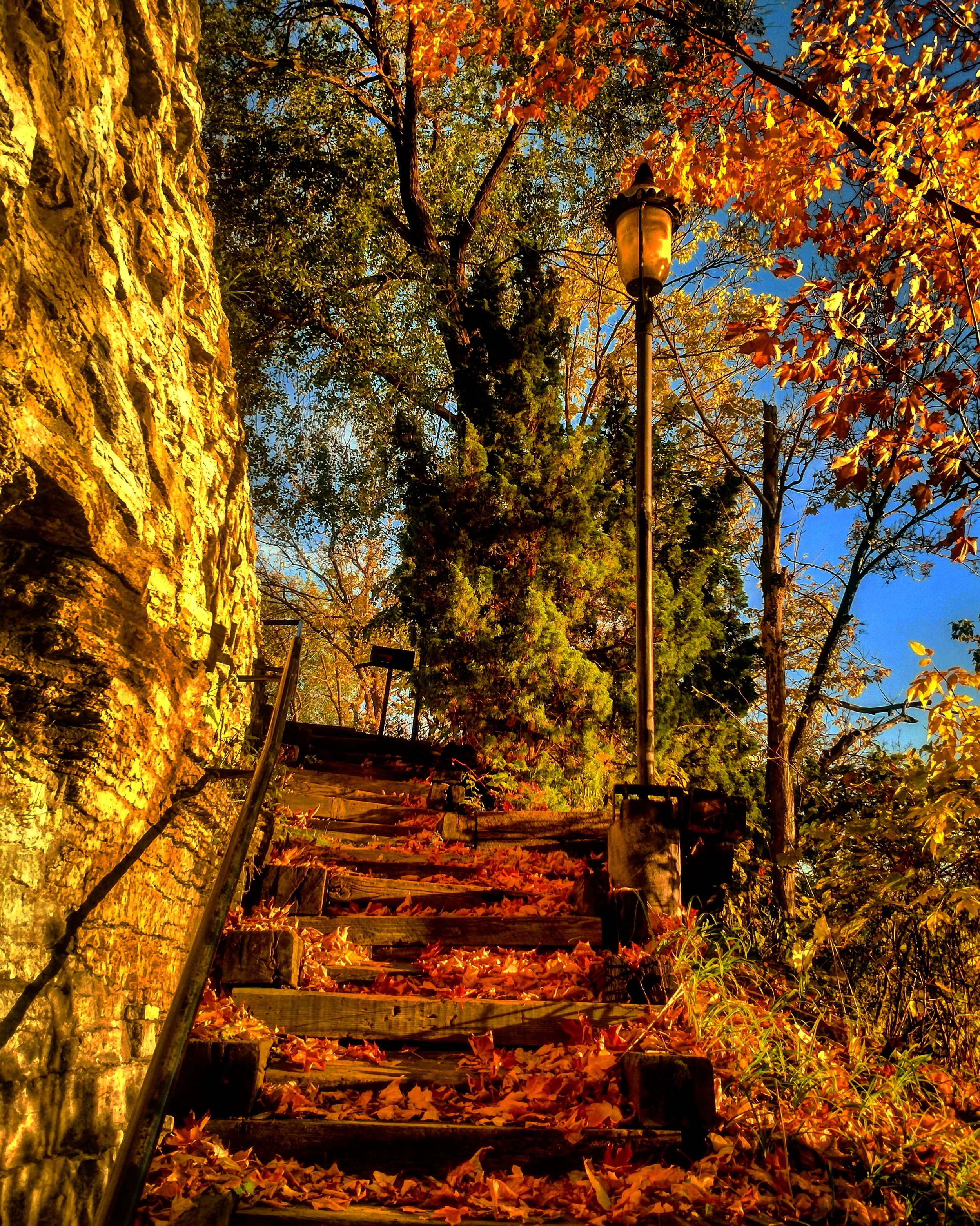Stairs down to Mississippi on Nicollet Island