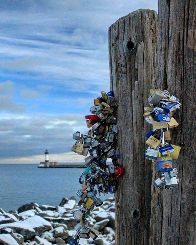 """The """"love locks"""" at Canal Park, Duluth MN"""