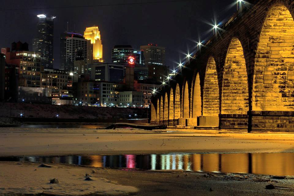 wintertime riverside under the Stone Arch Bridge