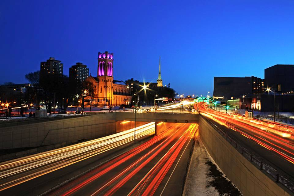 long exposure over the Lowry Hill Tunnel