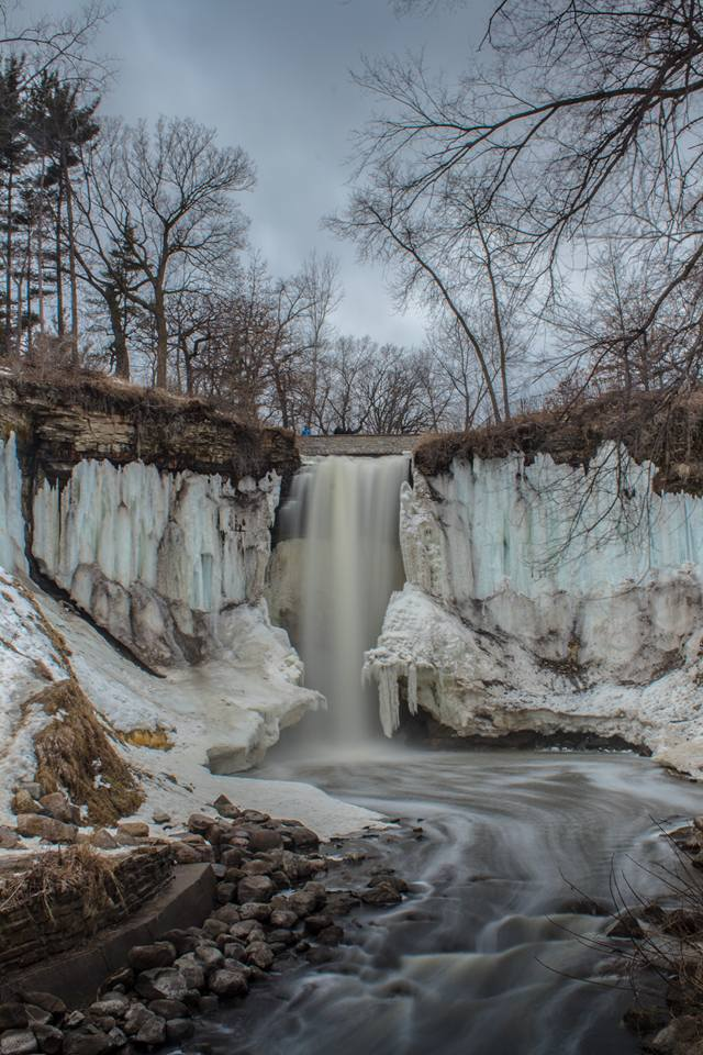 Minnehaha Falls in late winter, early spring
