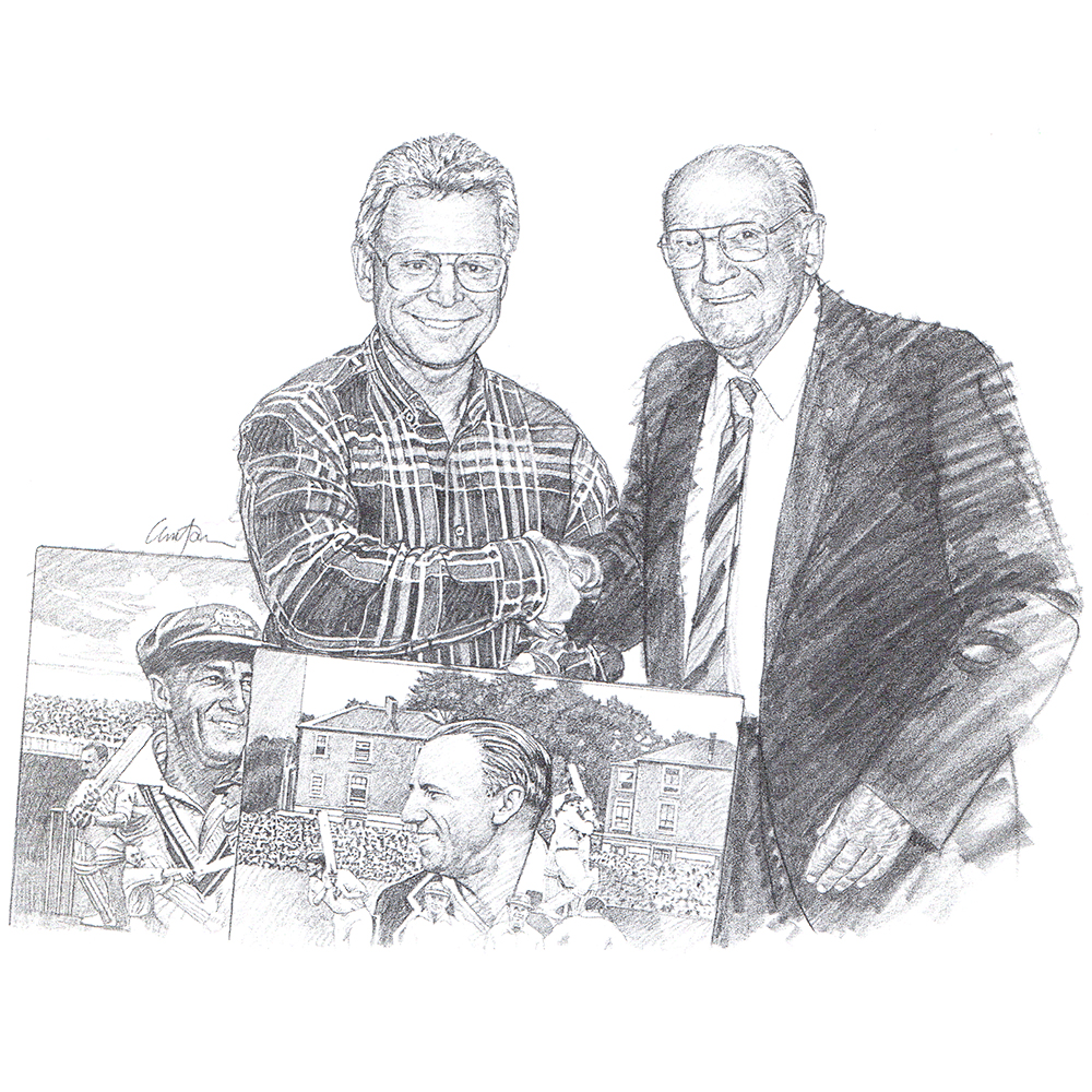 Brian Clinton and Sir Donald Bradman -