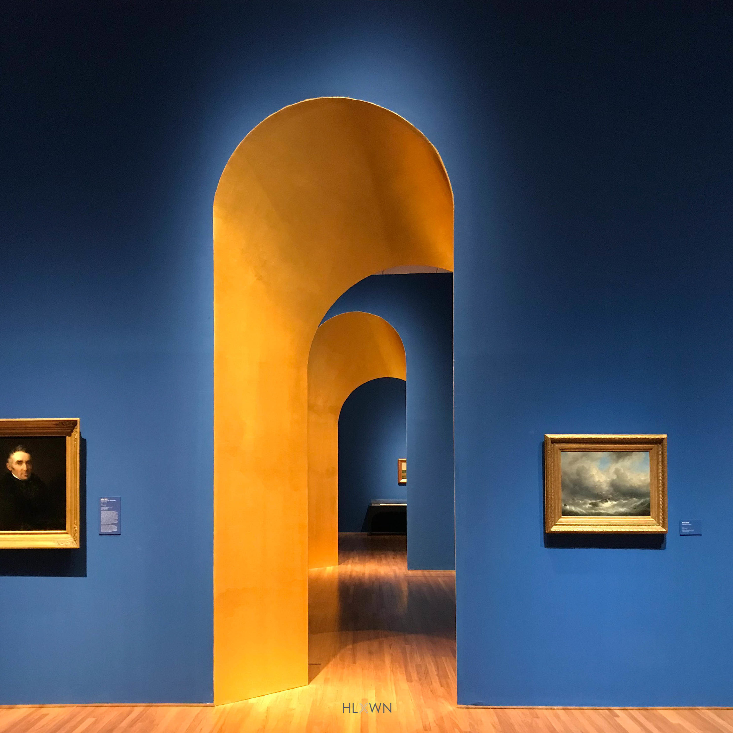 A Beautiful Blue and Gold Arch Doorway at the Between Worlds Exhibit