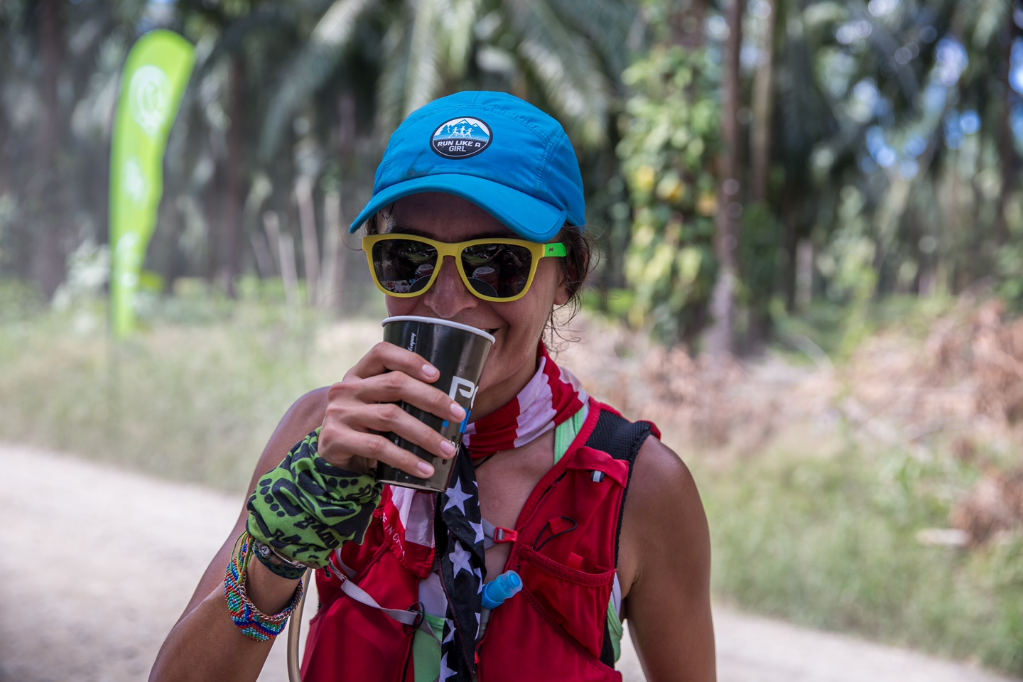 At the first aid station, my first of 193,743,289,259 sips of Poweraid. Photo by: Hilary Ann
