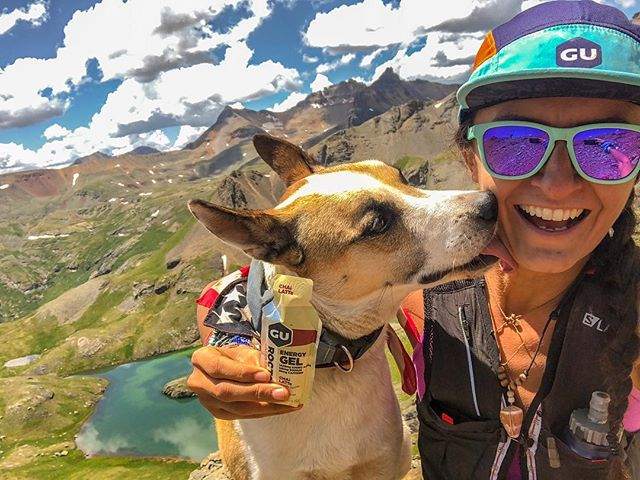 Do these gu'dies bring this pup to my yard? No, she just loves me a latte! These new @guenergylabs flavors are Gu-reat! Sawna tested, Juniper approved! Their newest chai latte launched today! #theadventuresofjuniper #guforit #timetoplay #saltyssquad #camphardrock