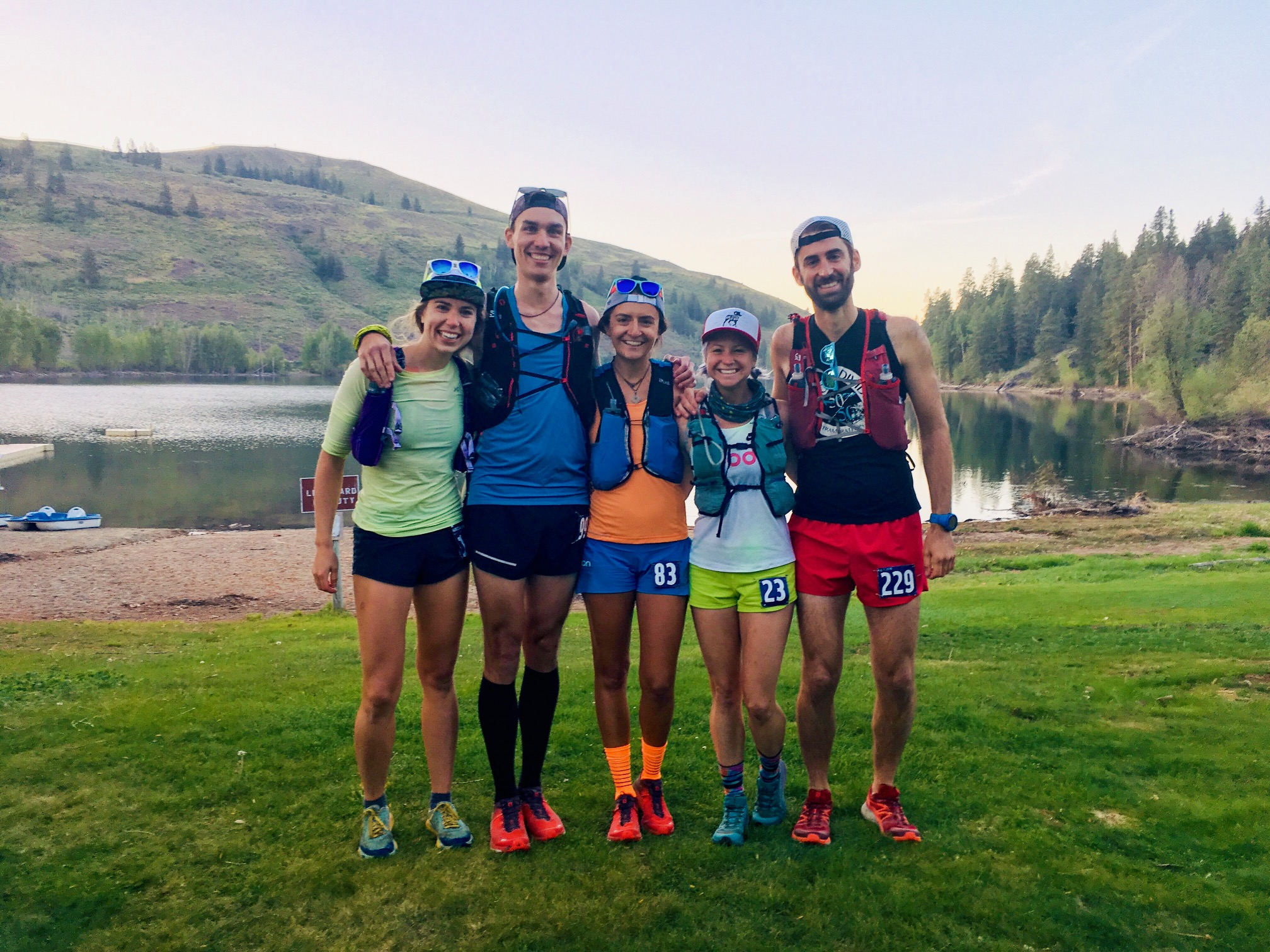 Hilary, Eamon, Me, Rhea, and Andrew looking super fresh right before the race. Can my socks be brighter? :)