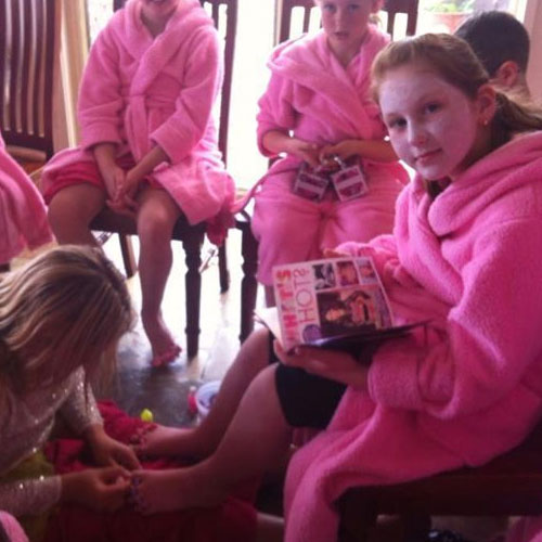 Girls relaxing in pamper party