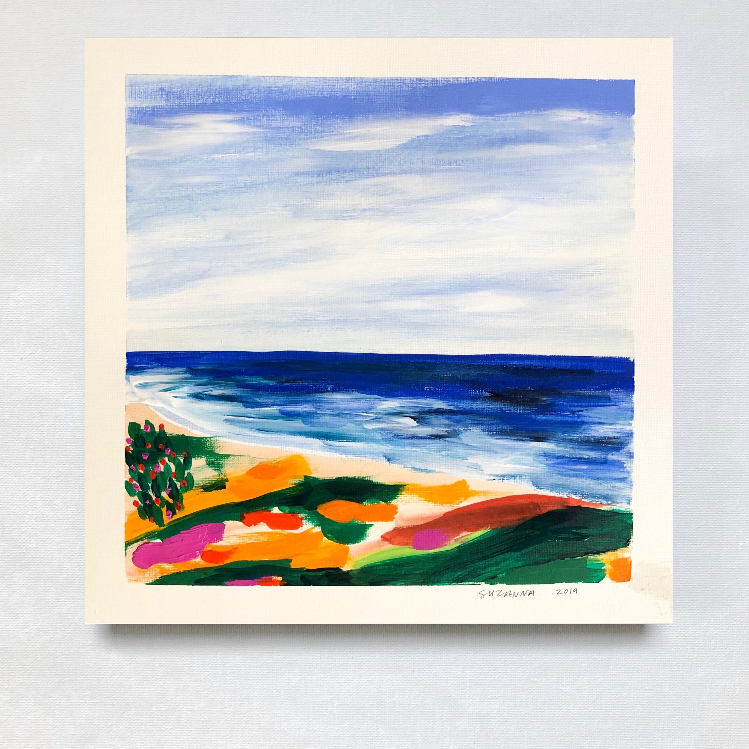 """Zuma Beach, 2019 - 12x12""""acrylic and gouache on papercomes framed in white & ready to hangSOLD OUT"""