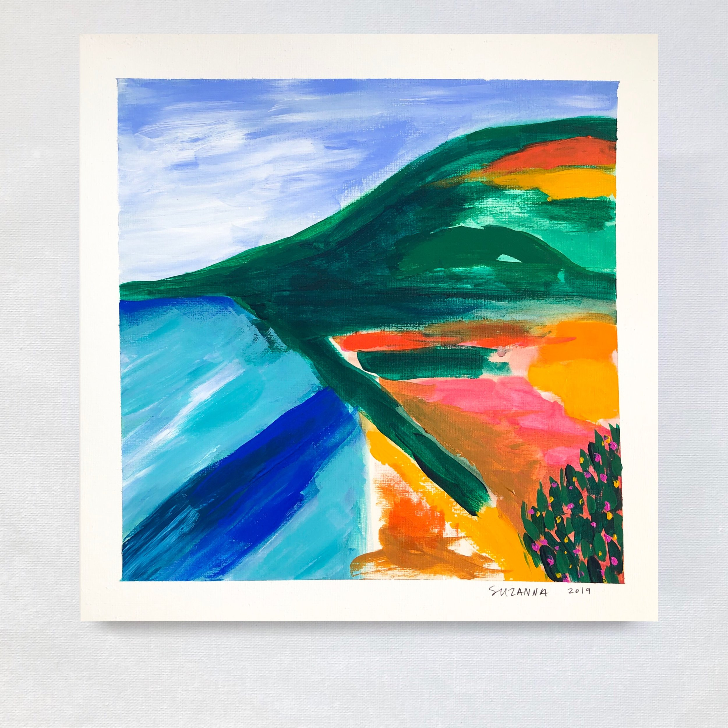 """Pacific Coast Highway, 2019 - 12x12""""acrylic and gouache on papercomes framed in white & ready to hangavailable"""