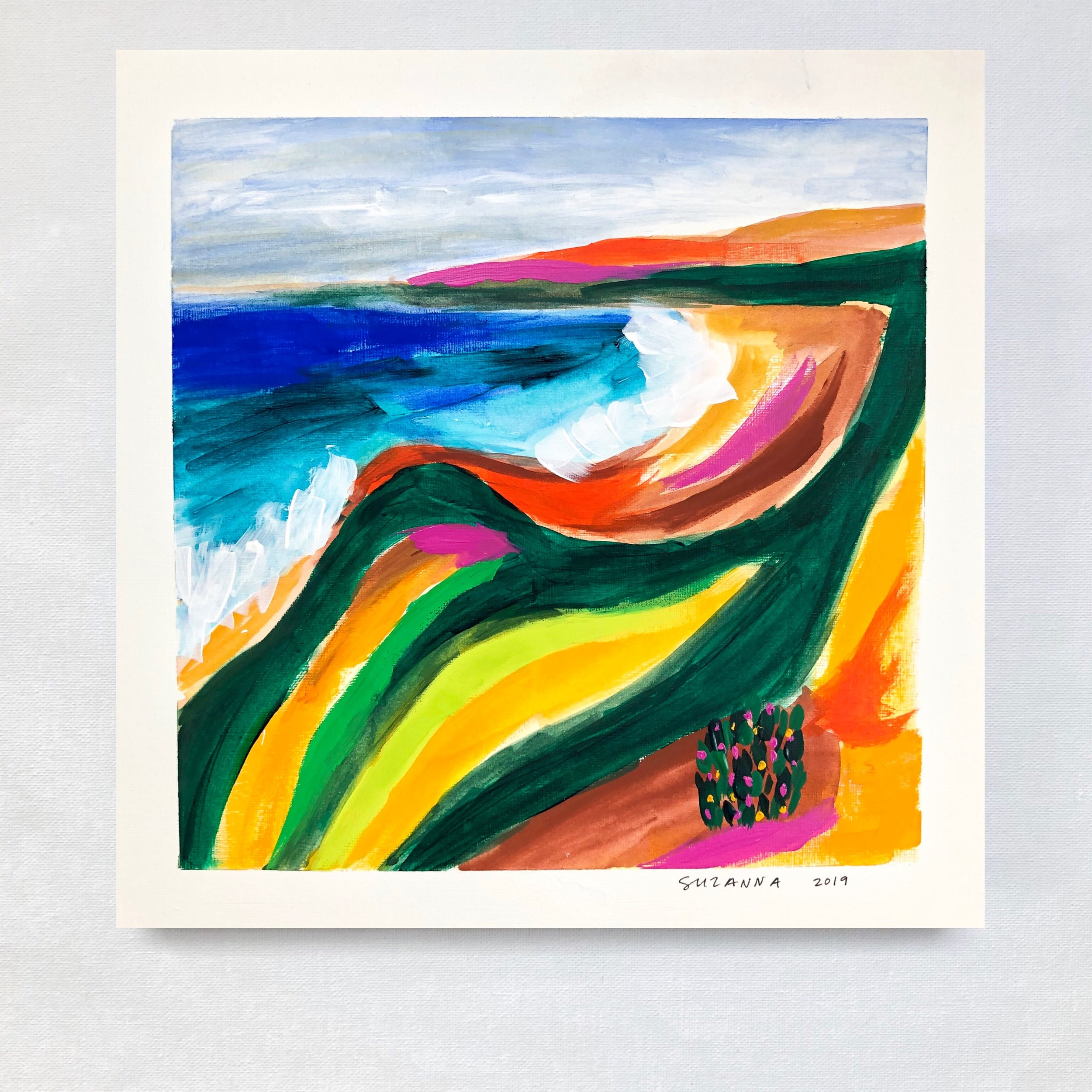 """El Matador, 2019 - 12x12""""acrylic and gouache on papercomes framed in white & ready to hangavailable"""