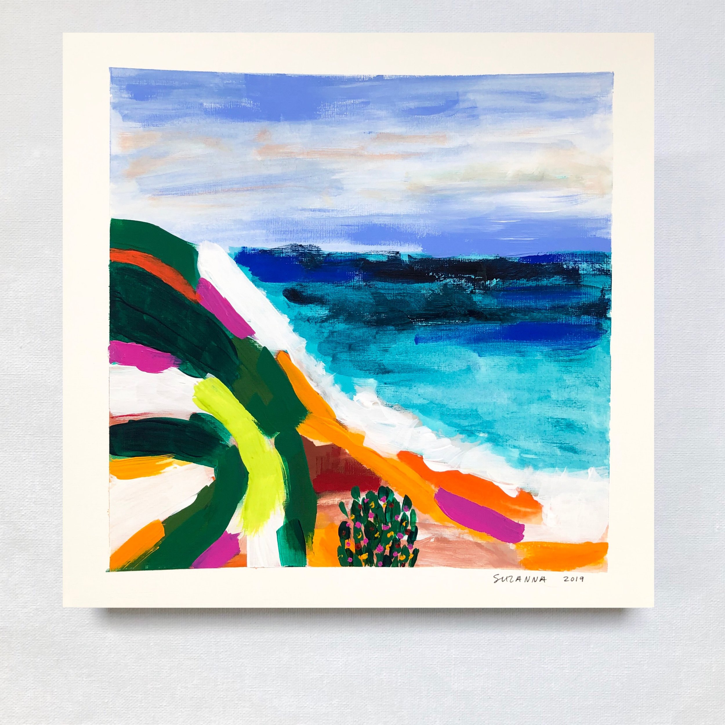 """Surfrider, 2019 - 12x12""""acrylic and gouache on papercomes framed in white & ready to hangavailable"""