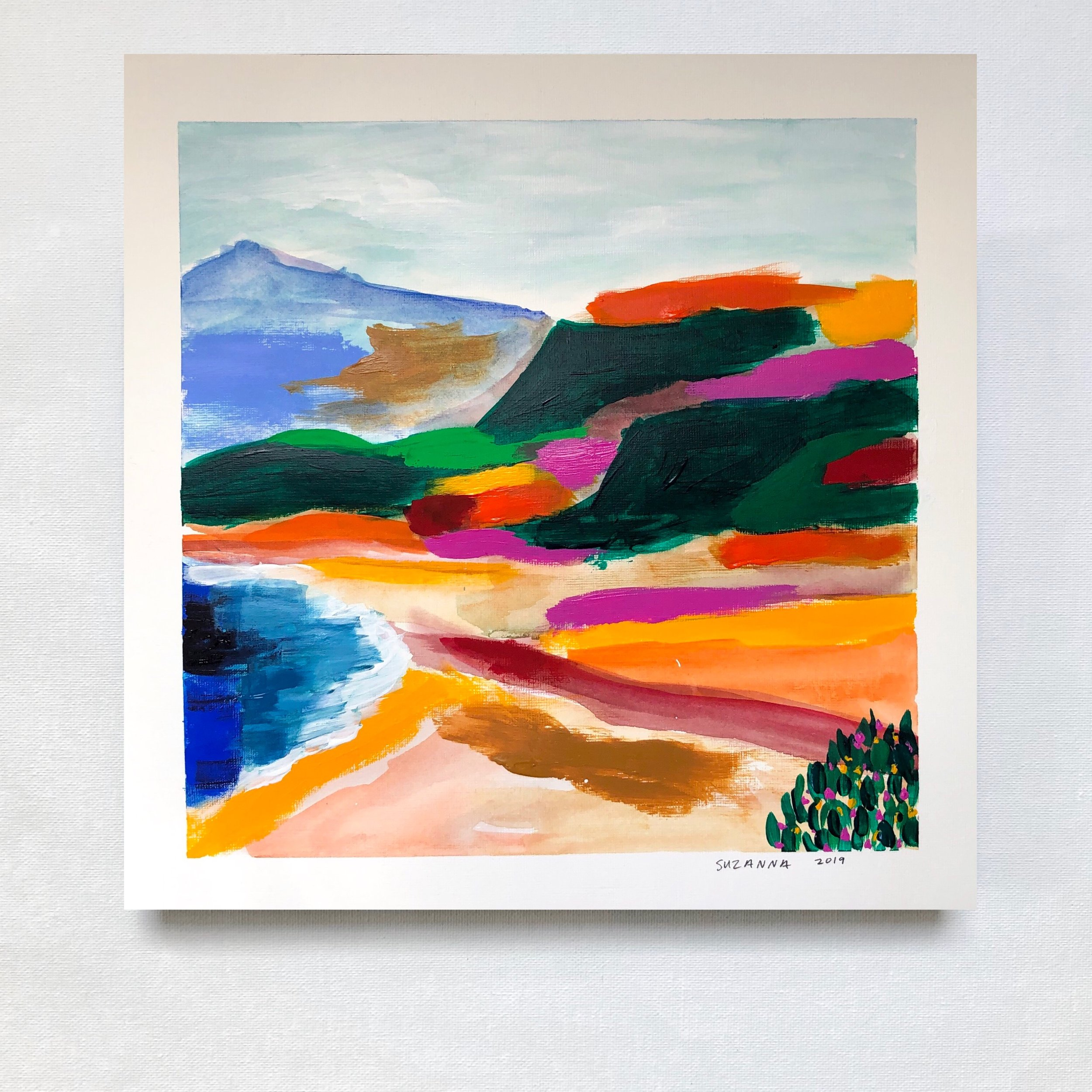 """Point Dume, 2019 - 12x12""""acrylic and gouache on papercomes framed in white & ready to hangavailable"""