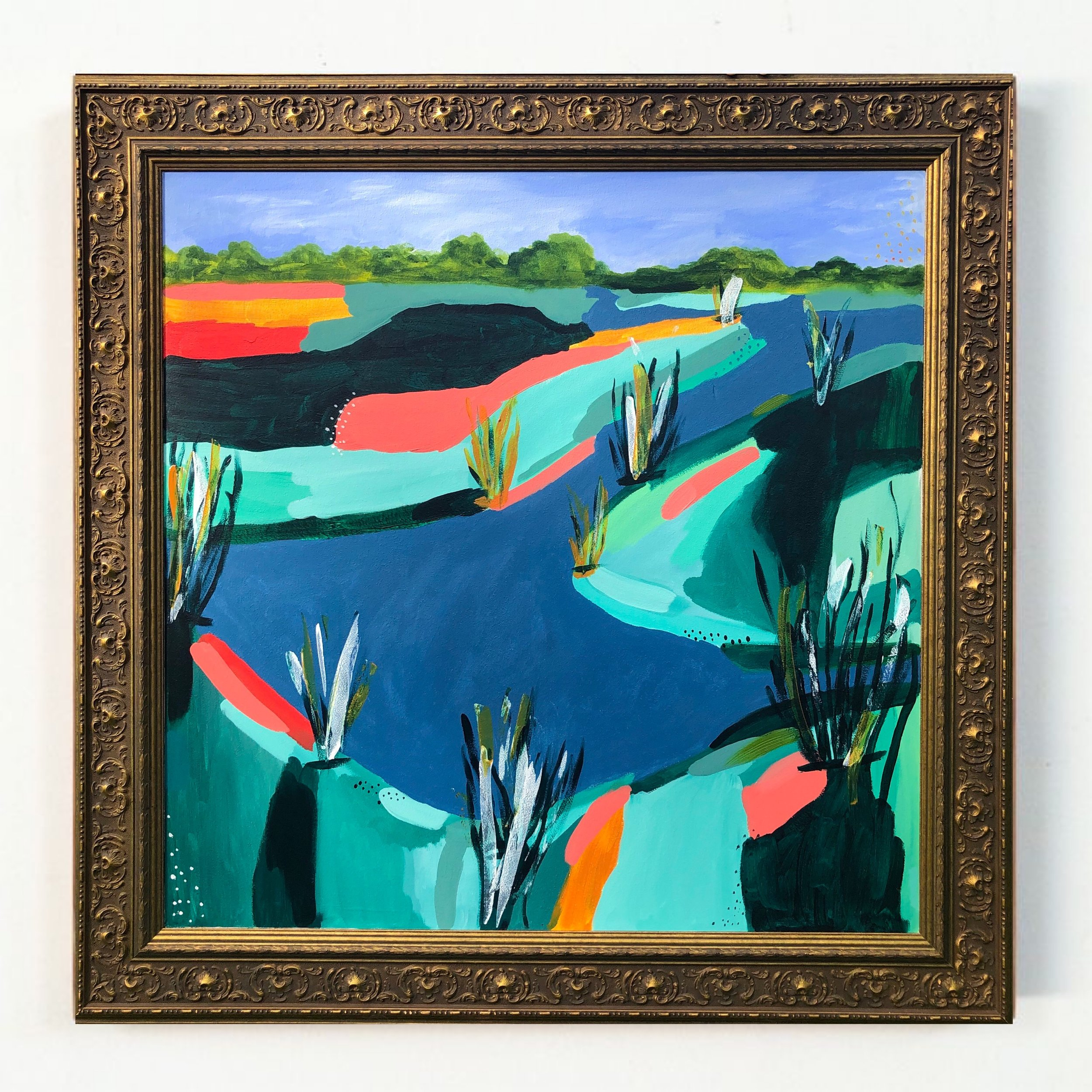 "Midday Marsh, 2019 - 43x43'"" including frameacrylic on panel$1750"