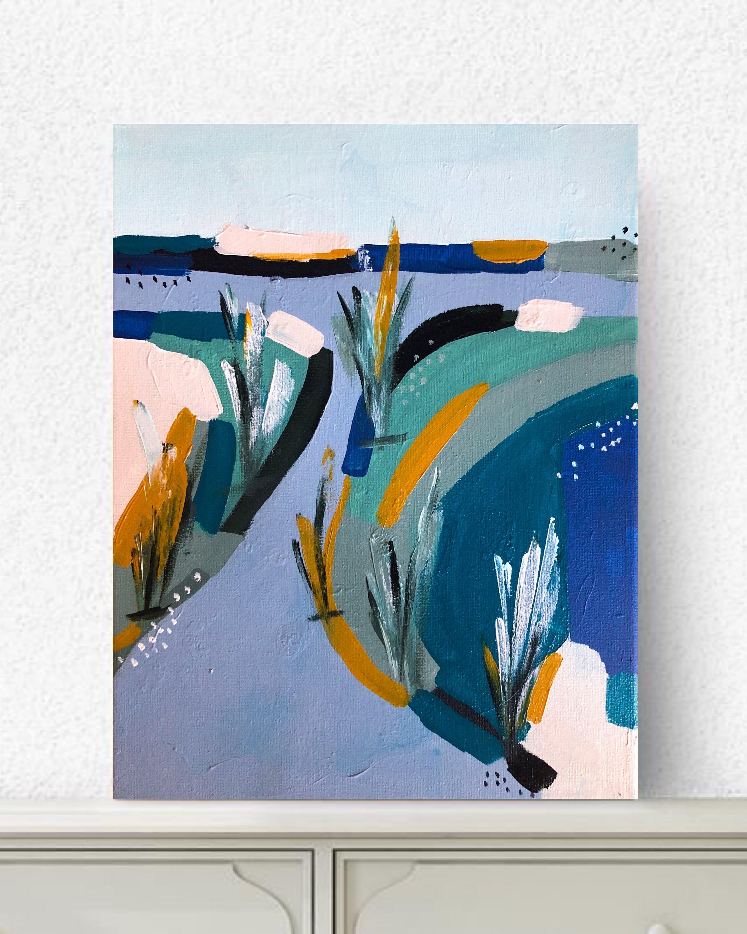 """Salt Marsh #1, 2019 - 11x14""""acrylic on canvascomes framed in black floater frame$250"""