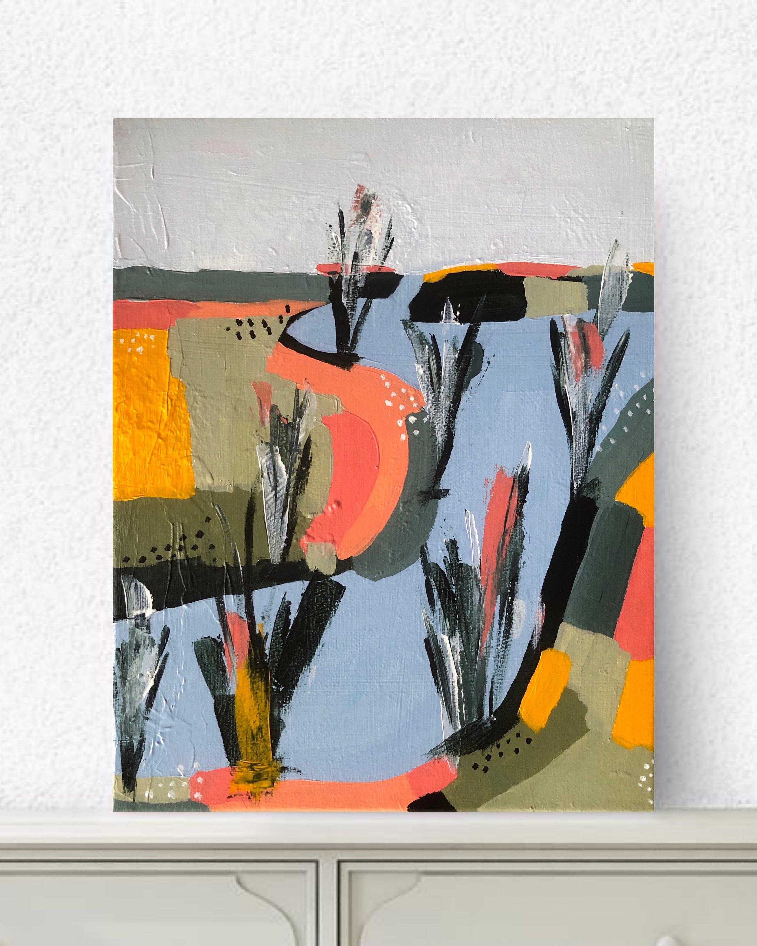 """Salt Marsh #2, 2019 - 11x14""""acrylic on canvascomes framed in black floater frame$250"""