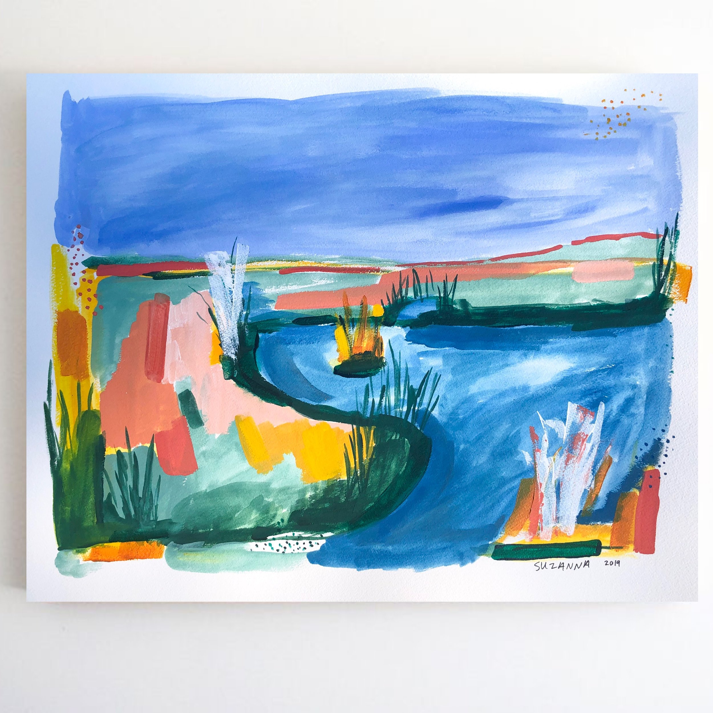 """Boat Day, 2019 - 16x20""""gouache and acrylic on papercomes framed in white$350"""