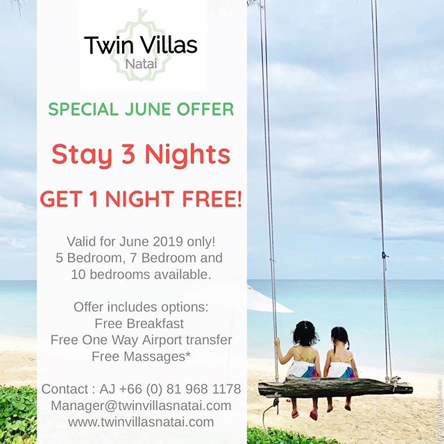 Exciting offer now available! Please contact me for more details! Manager@twinvillasnatai.com ph: +66 (0) 81 968 1178 line: 1_crazy_ironmum #exclusiveoffer #luxuryvilla #natai #twinvillasnatai #twinvillasnataibeach #phuket #phuketluxuryvillas #deal #june #phuketphotographer #luxury #luxurylifestyle