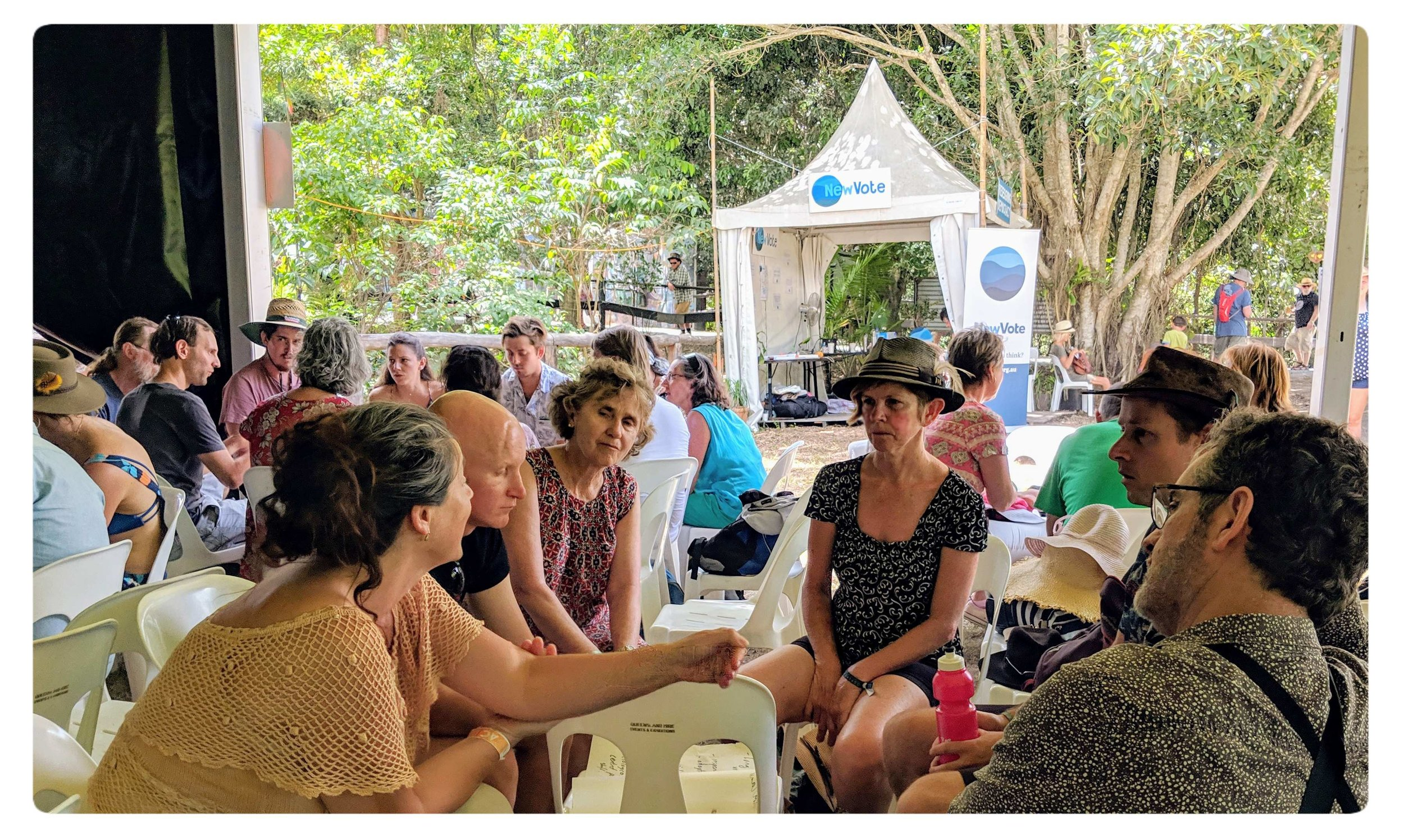 Festival goers participating the 'Redesigning Democracy', a 6-day listening and workshop series held at the Woodford Folk Festival Dec/Jan 2018/19