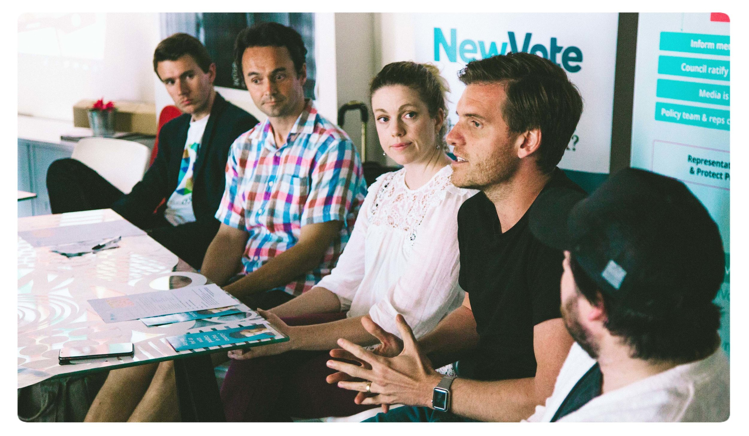 Australian Digital Democracy Forum in November 2017, hosted by NewVote in Melbourne, Australia.  From Left to Right, Nathan Spataro of FLUX party and SecureVote, Karel Boele of PeopleDecide, Rebecca Dhal of Collabforge, Jamie Skella of Horizon State and Adam Jacoby of MiVote.