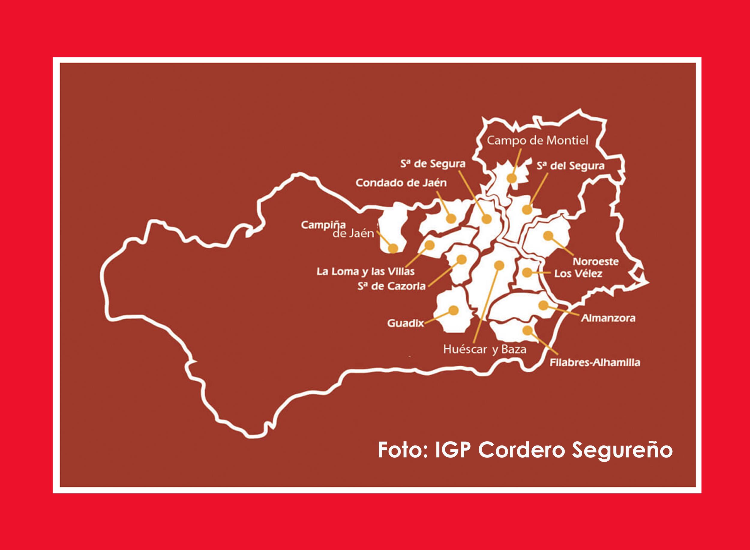 "Zona Geográfica del ""Cordero Segureño"". Foto:  https://www.igpcorderosegureno.com/el-cordero-segureno/"