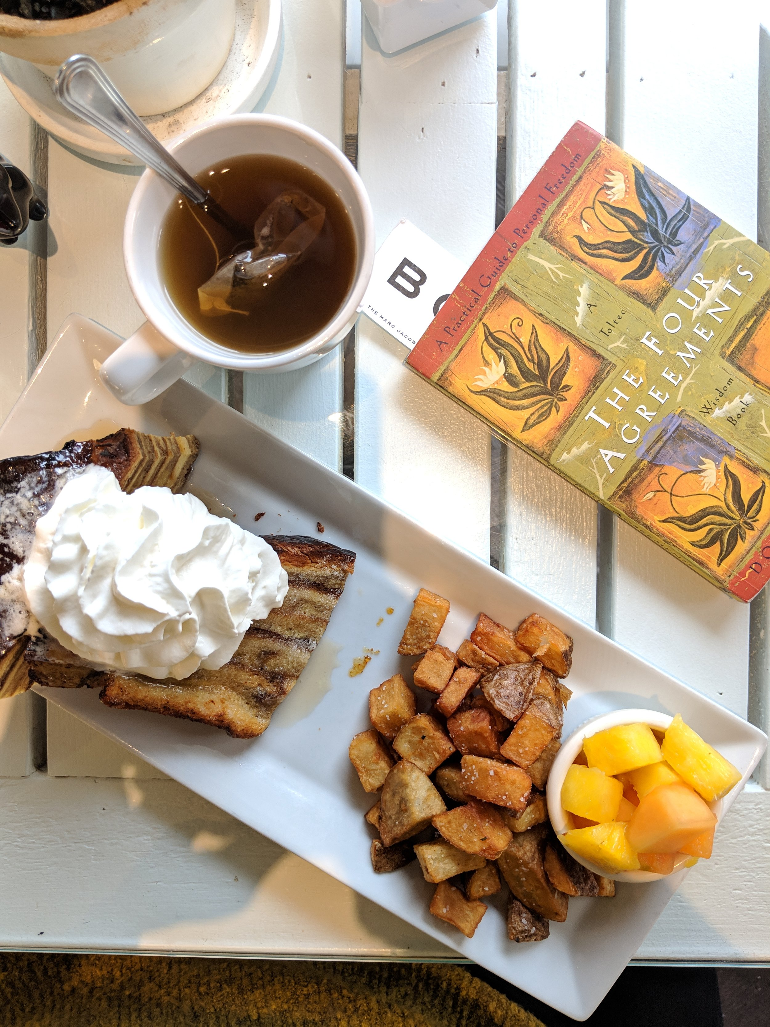 "my meal from ""a dog's breakfast"" + my current read, ""The Four Agreements"""